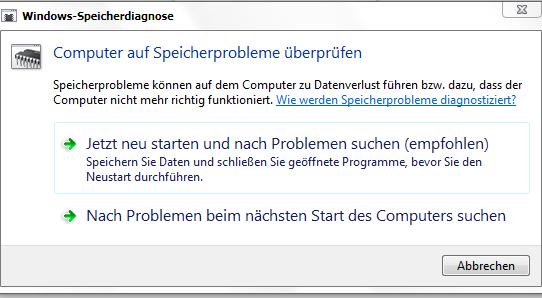 Windows 7 - Arbeitsspeicher mit Bordmitteln testen