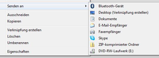 """Windows 7 - """"Senden an..."""" Auswahl erweitern"""