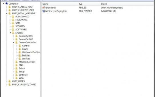 Windows 7 - Auslagerungsdatei verschlüsseln